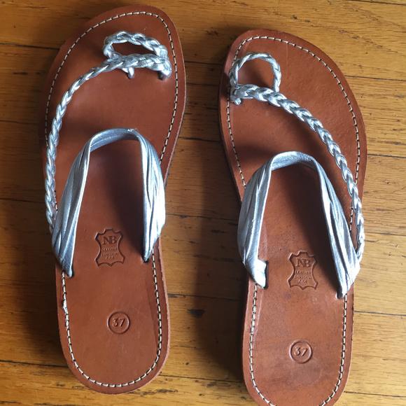 5fbaa4b58e1 Silver Leather Greek Handmade Sandals. M 5c3e3d33619745a847f437a1